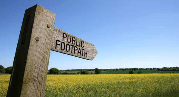 Public footpath sign on Boudicca Way